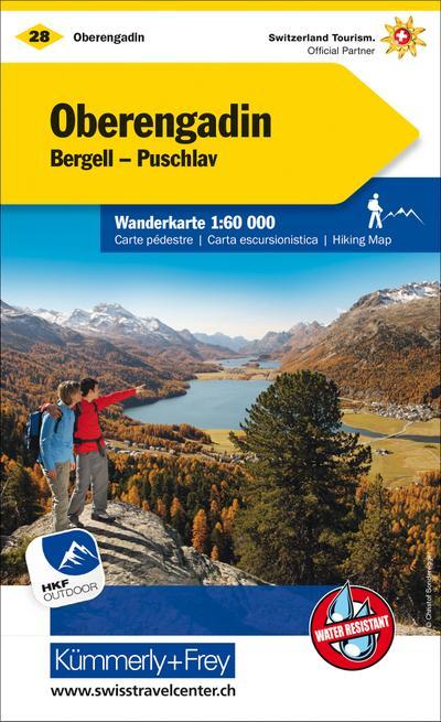 KuF Schweiz Wanderkarte 28 Oberengadin Bergell, Puschlav 1 : 60 000