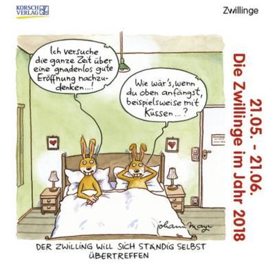 Zwillinge Mini 2018: Sternzeichenkalender-Cartoon - Minikalender im praktischen quadratischen Format 10 x 10 cm. - Korsch Verlag - Kalender, Deutsch, Korsch Verlag, Mini. Sternzeichen-Cartoonkalender, Mini. Sternzeichen-Cartoonkalender