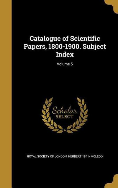 CATALOGUE OF SCIENTIFIC PAPERS