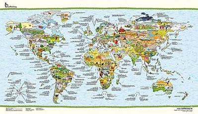 footballmap - die Welt des Fußballs, illustrierte Weltkarte