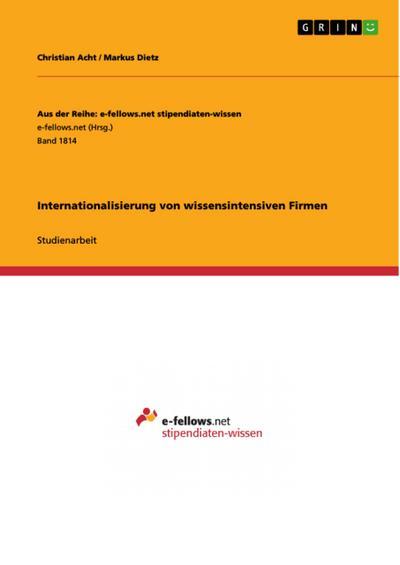 Internationalisierung von wissensintensiven Firmen