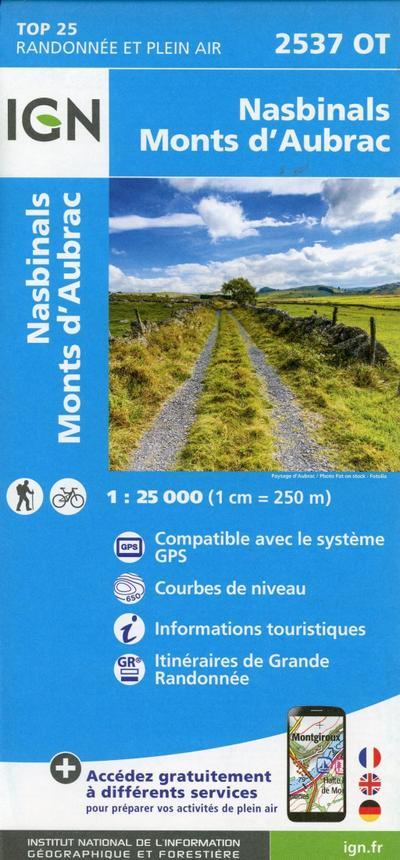 Nasbinals Monts d'Aubrac 1:25 000