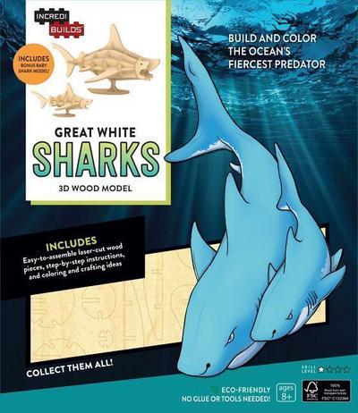 IncrediBuilds: Great White Sharks 3D Wood Model