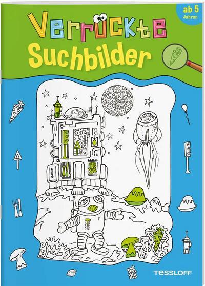 Verrückte Suchbilder; Ab 5 Jahren; Malbücher und -blöcke; Ill. v. Kapmeyer, Manfred; Deutsch; farb. illustriert