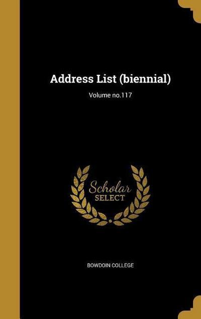 ADDRESS LIST (BIENNIAL) VOLUME