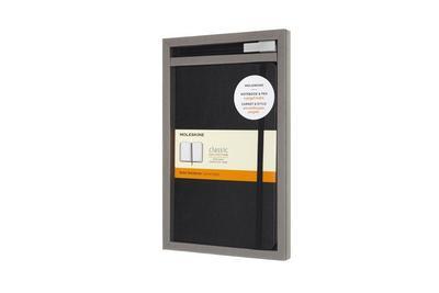 Moleskine Set mit Notizbuch und Stift, Large/A5, Hard Cover, Schwarz + Gelroller Plus