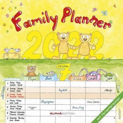 Familienplaner Cartoon 2022 - Broschürenkalender 30x30 cm