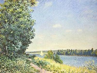 Alfred Sisley - Normandie, Pfad am Wasser, abends bei Sahurs - 200 Teile (Puzzle)
