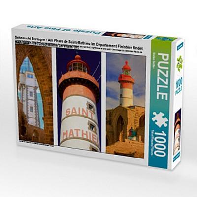 Sehnsucht Bretagne - Am Phare de Saint-Mathieu im Département Finistére findet man gleich drei Leuchttürme an einem Ort (Puzzle)