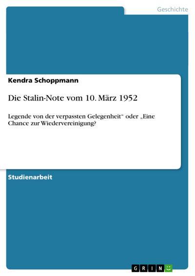 Die Stalin-Note vom 10. März 1952