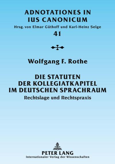 Die Statuten der Kollegiatkapitel im deutschen Sprachraum