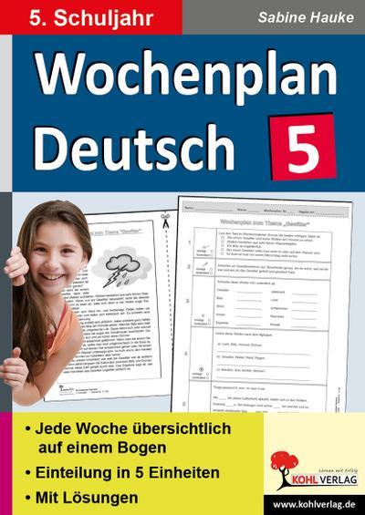 Wochenplan Deutsch, 5. Schuljahr