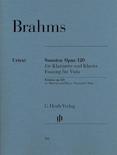 Sonaten Opus 120 für Klavier und Klarinette