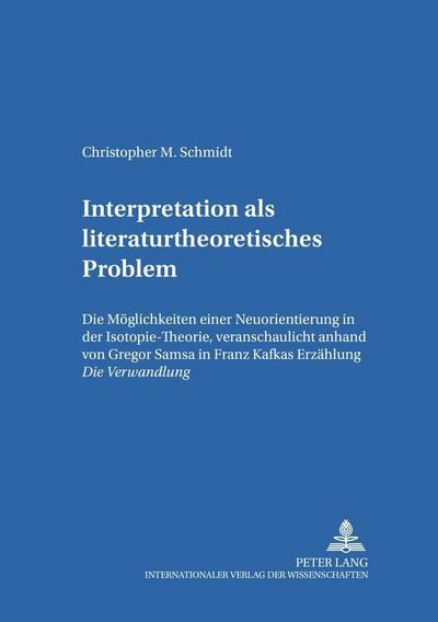 Interpretation als literaturtheoretisches Problem