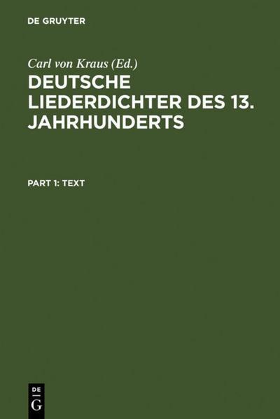 Deutsche Liederdichter des 13. Jahrhunderts