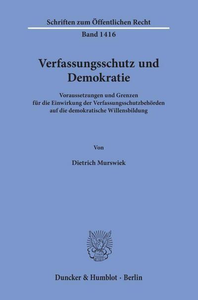 Verfassungsschutz und Demokratie