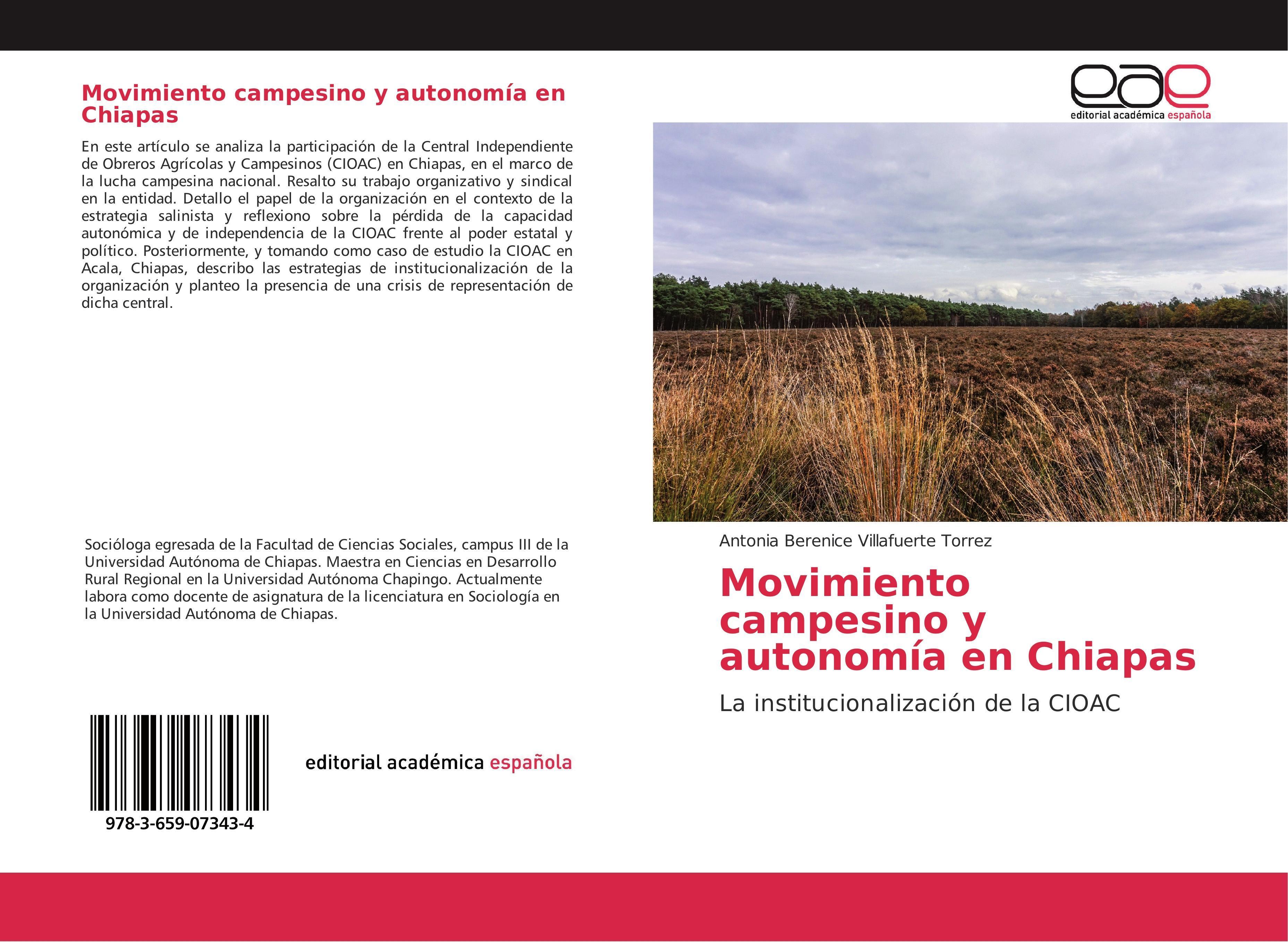 Movimiento campesino y autonomía en Chiapas - Antonia Bereni ... 9783659073434