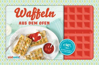 Waffeln aus dem Ofen; Süße & herzhafte Rezeptideen. Buch mit Silikonform für 4 Ofenwaffeln; Deutsch; ca. 25 Farbfotos
