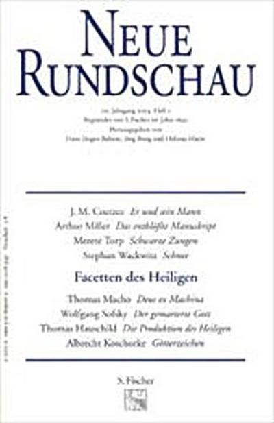 Neue Rundschau 2004/1: Facetten des Heiligen