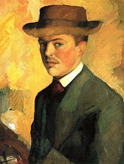 August Macke - Selbstporträt mit Hut - 200 Teile (Puzzle)