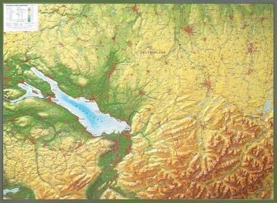 Relief Allgäu Bodensee 1:200.000 mit Holzrahmen