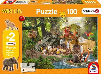 Schleich: Forschungsstation Croco, 100 Teile - Kinderpuzzle. Mit 2 Schleich-Figuren