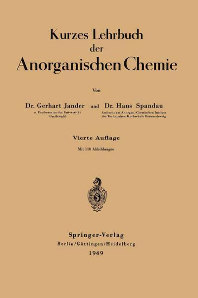 Kurzes Lehrbuch der Anorganischen Chemie
