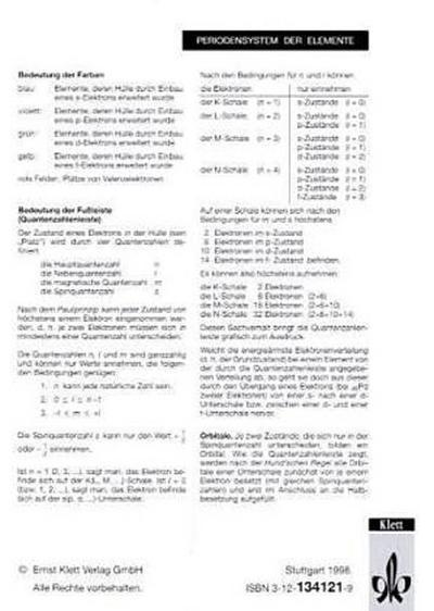 Periodensystem der Elemente, Schülerhandblatt