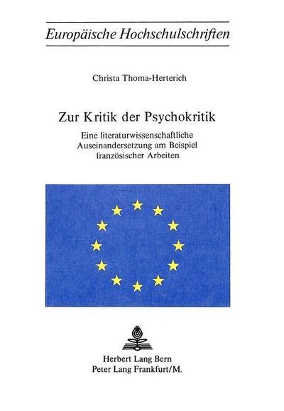 Zur Kritik der Psychokritik