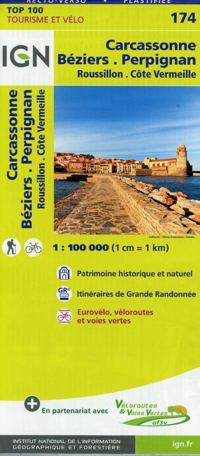 IGN Carcassonne Béziers Perpignan 1 : 100 000