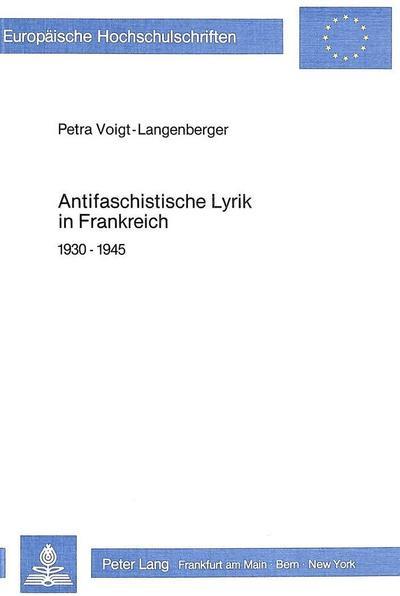 Antifaschistische Lyrik in Frankreich