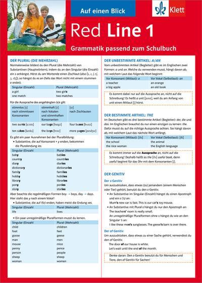 Red Line Auf einen Blick: Grammatik passend zum Schulbuch