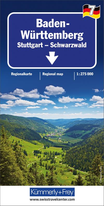 Kümmerly+Frey Karte Baden Württemberg - Stuttgart, Schwarzwald Regionalkarte