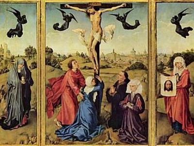 Rogier van der Weyden - Kreuzigungstriptychon, Hl. Maria Magdalena, Hl. Veronika mit Stifterporträts - 200 Teile (Puzzle)