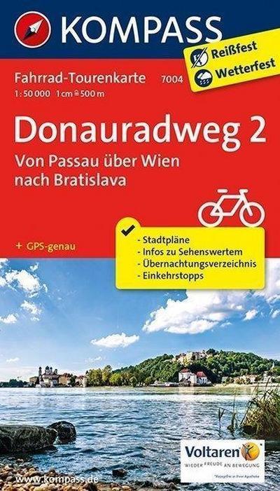 Fahrrad-Tourenkarte Donauradweg 2, Von Passau über Wien nach Bratislava. Tl.2