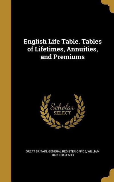 ENGLISH LIFE TABLE TABLES OF L