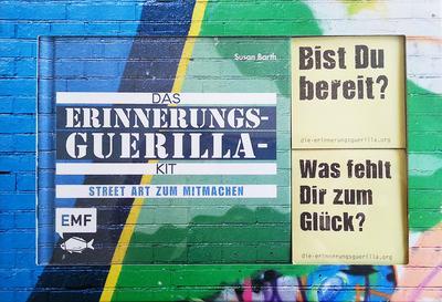 Das Erinnerungsguerilla-Kit; Street Art zum Mitmachen   ; Box mit Buch und 2 Stickerblöcken mit je 100 Stickern; Deutsch