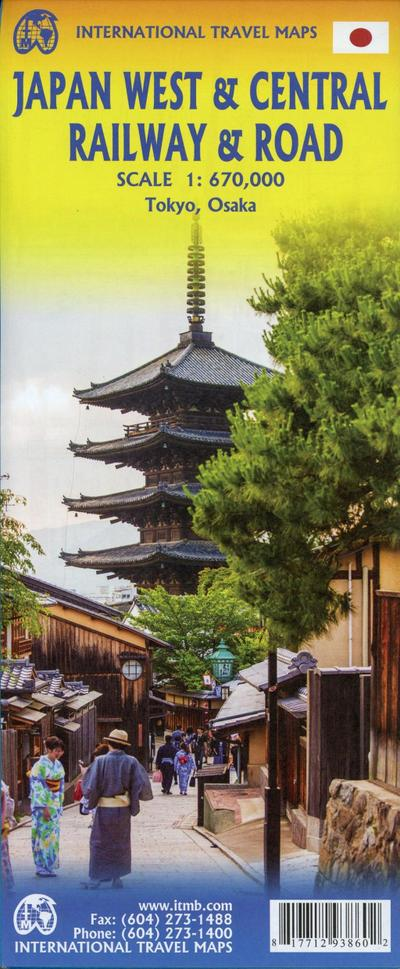 Touristik Karte Japan West & Central Railway 1:670 000