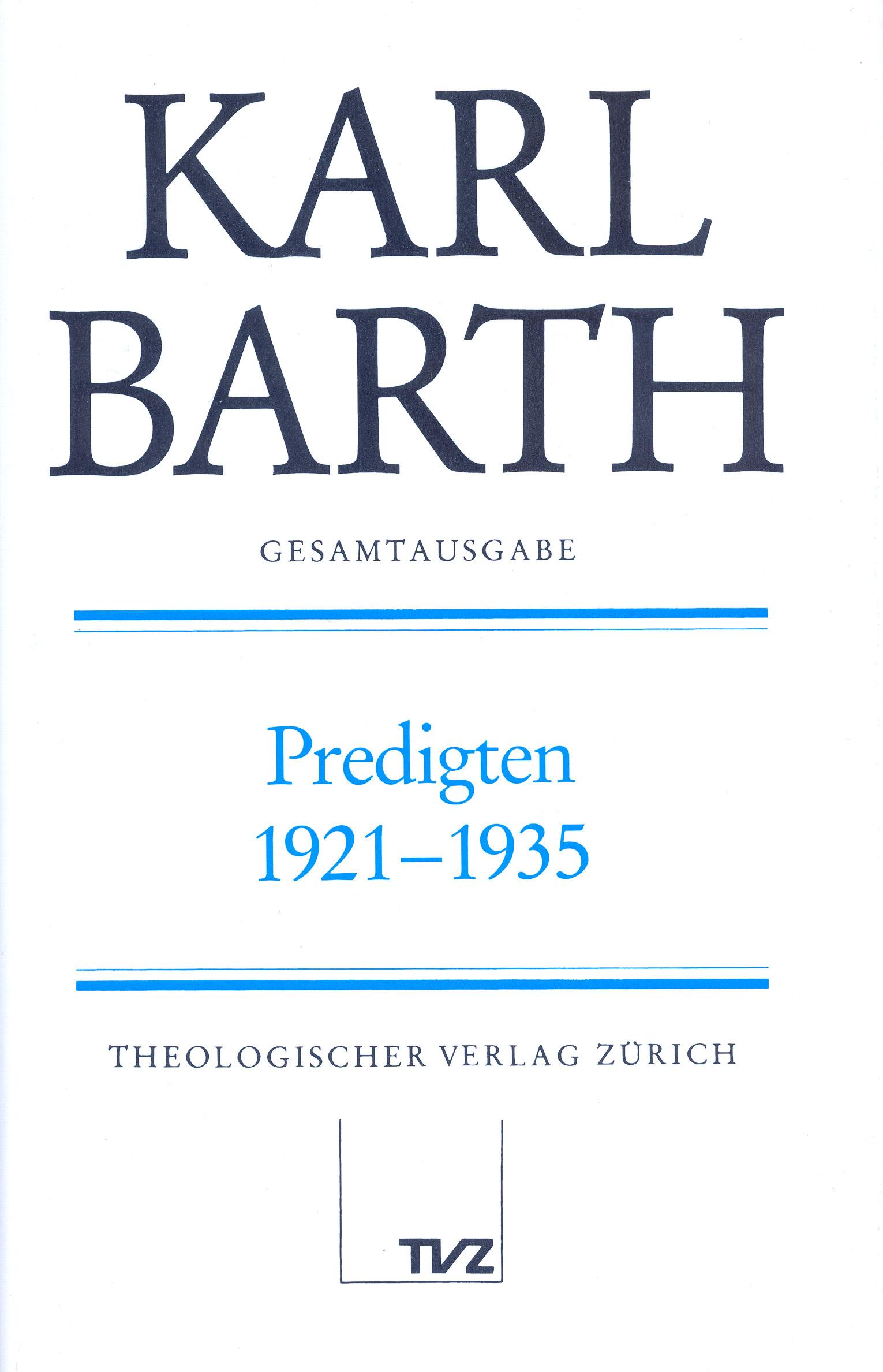 Predigten 1921-1935 Karl Barth