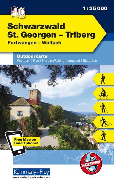 Kümmerly+Frey Outdoorkarte Schwarzwald St. Georgen-Triberg