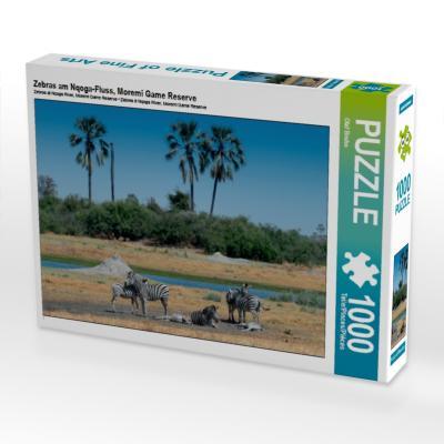 Zebras am Nqoga-Fluss, Moremi Game Reserve (Puzzle)