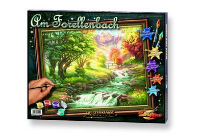 Schipper 609130412 609130412-Malen nach Zahlen-Forellenbach, 40x50 cm - Noris - Spielzeug, Deutsch, , ,