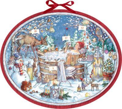 Zettelkalender  Nur für mich!: 24 Wohlfühltipps für einen entspannten Advent - Coppenrath - Kalender, Deutsch, Anna de Riese, 24 Wohlfühltipps für einen entspannten Advent, Adventskalender 57 x 47 cm, Mit 24 eingesteckten Zetteln, oval, 24 Wohlfühltipps für einen entspannten Advent, Adventskalender 57 x 47 cm, Mit 24 eingesteckten Zetteln, oval