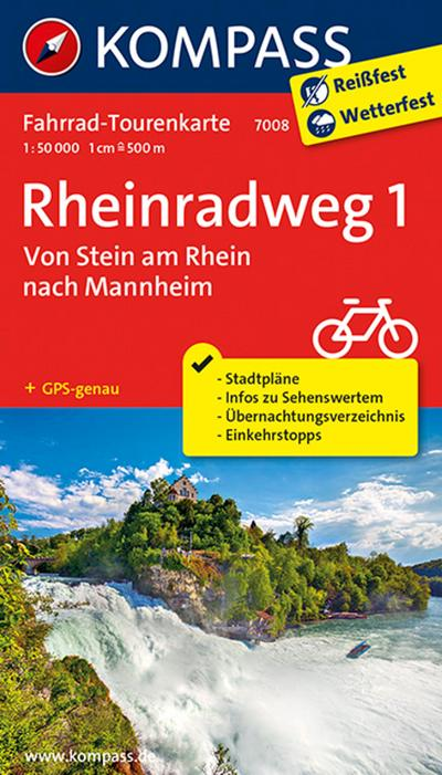 Fahrrad-Tourenkarte Rheinradweg 1, Von Stein am Rhein nach Mannheim 1:50 000