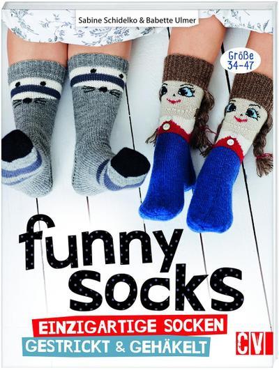 Funny Socks; Einzigartige Socken gestrickt & gehäkelt; Deutsch; durchgeh. vierfarbig