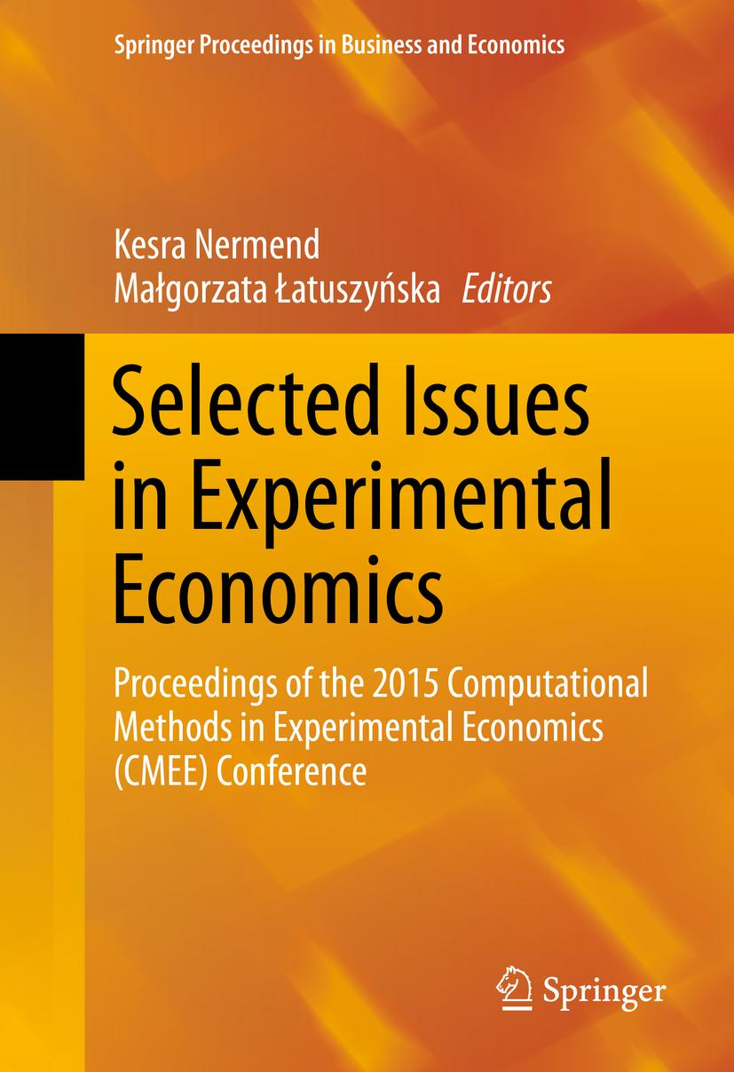 Selected Issues in Experimental Economics, Kesra Nermend