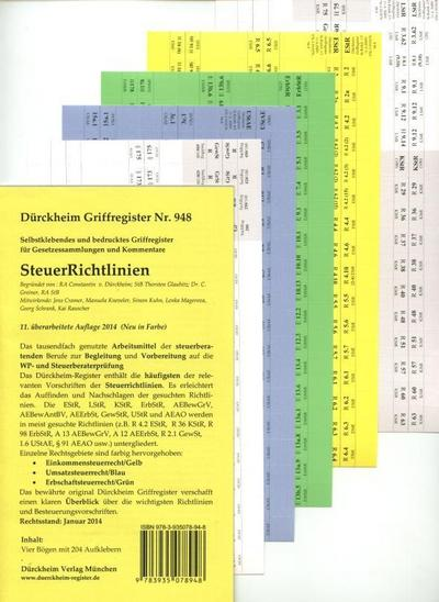 SteuerRichtlinien Griffregister Nr. 948 (2014): 255 selbstklebende und farbig bedruckte Griffregister für SteuerRichtlinien. Die Neuauflage erscheint: August 2015_ISBN 9783864530555