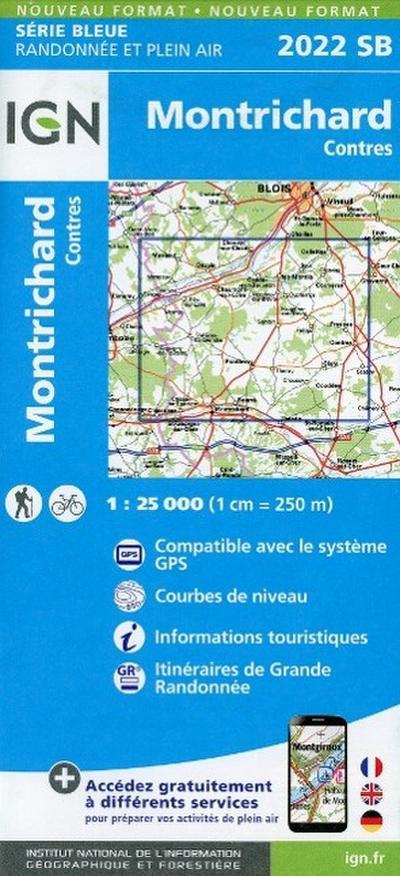 Montrichard - Contres 1 : 25 000 Carte Topographique Serie Bleue Itineraires de Randonnee