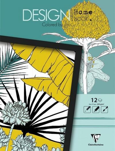 Malbücher verleimt für Erwachsene: Design Home Book 13x17cm Pflanzen