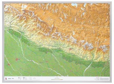 Nepal Gross 1:1.150.000 mit Aluminiumrahmen
